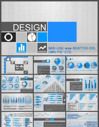 蓝灰配色实用商务图表PPT模板