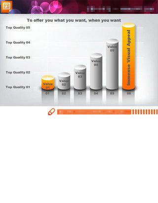 黄色搭配的柱状图PPT图表模板