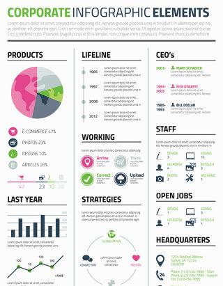 彩色商务PPT图形图表矢量设计