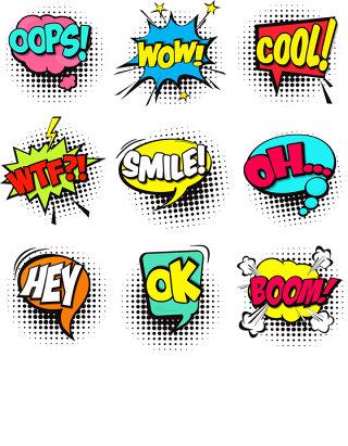 一套五颜六色的漫画语音泡沫