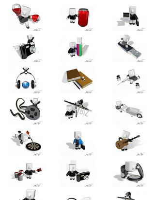 商务PPT素材商业背景方头3D小人