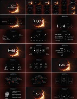 星空宇宙背景商务总结汇报PPT模板下载