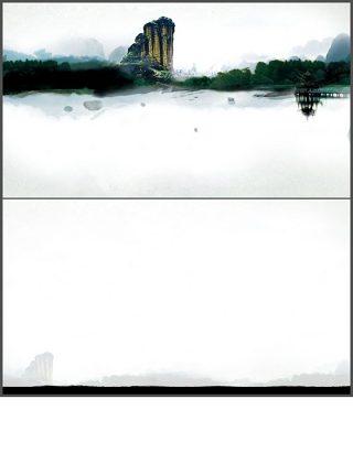 水墨山水画中国风PPT背景图片