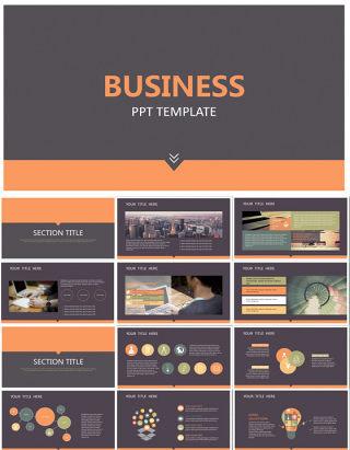 BUSINESS极简大气商务风扁平化工作总结ppt模板