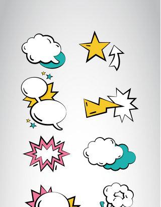 文本框元素背景素材卡通对话框气泡合集