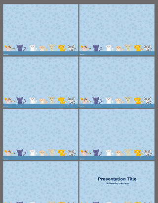 蓝色可爱猫咪PPT模板