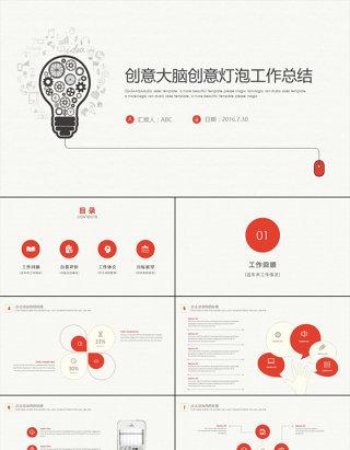 创意大脑灯泡PPT模板