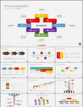13套彩色环形图表PPT模板