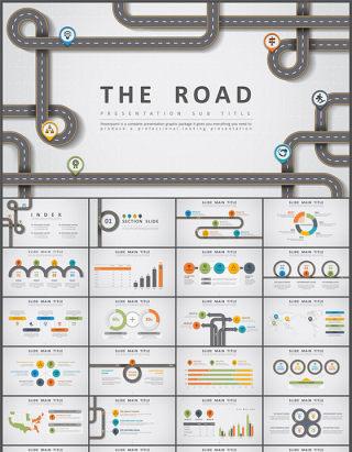 创意公路主题设计PPT模板