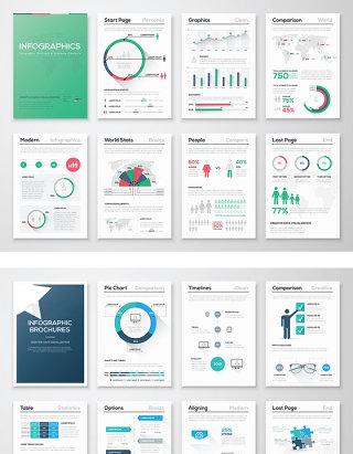 商务PPT图形图表海报DM单矢量素材设计