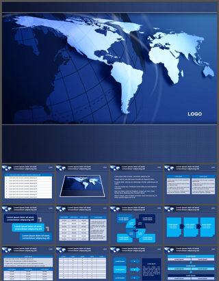 世界地图地球仪背景PPT模板