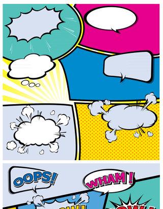 波普文化风格弹幕不规则格动漫对话弹出框