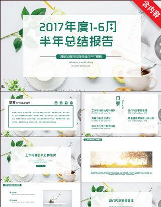 清新创意绿色2017年度1-6月半年总结报告