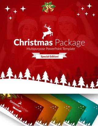 90页精美圣诞节PPT模板10种配色主题ppt模板