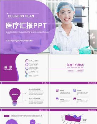 2017年紫色医疗医药医学汇报PPT模板