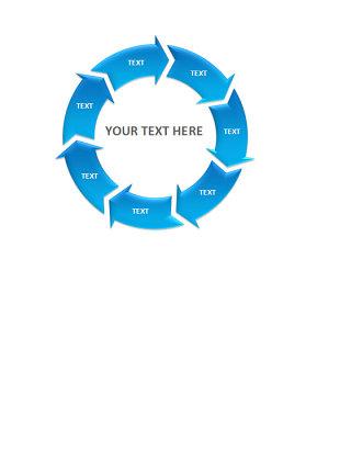 蓝色多项循环PPT图表素材
