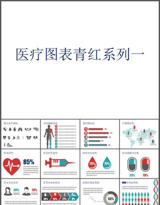 扁平化医学医疗PPT图表合集(39P)