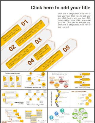 60张精美并列关系ppt图表打包 下载
