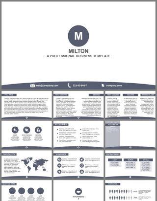 大气扁平化企业商务营销宣传介绍PPT模板