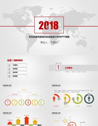 灰色商务风格简约创业融资计划书PPT模板