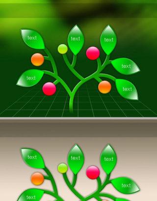 并列绿色树枝ppt图表