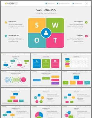 蓝粉彩色扁平化组织机构关系图表PPT模板