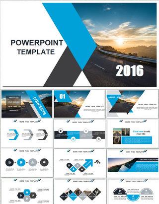 几何形状创意视觉排版精美商务ppt模板