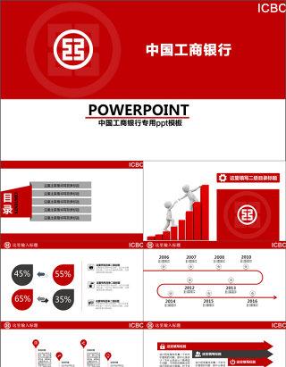中国工商银行工行总结汇报PPT模板