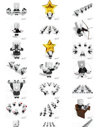动漫素材PPT背景商务元素方头3D小人