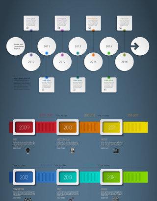 序号列表素材下载深色背景时间轴彩色文本
