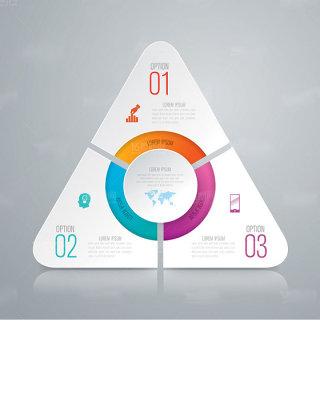 三角商务信息统计图表设计矢量素材