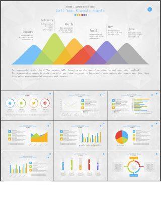 10套扁平化彩色数据图表PPT模板