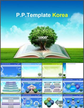 翻开的书长出大树环境保护公益讲座知识学习动态ppt模板
