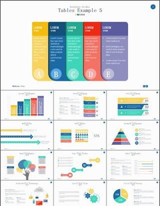 13套彩色扁平图表PPT模板