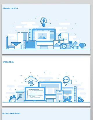 科技背景板元素手绘动漫插画素材商务海报