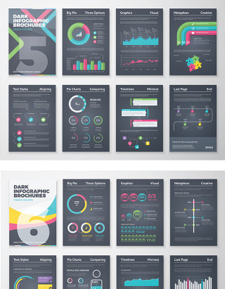 创意商务PPT图形图表海报DM单矢量设计
