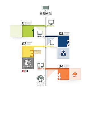 矢量信息图表标签