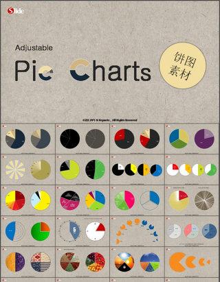 52套各种饼形图表饼图素材ppt图表下载