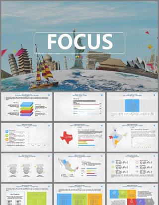欧美彩色商务营销业绩报告PPT模板