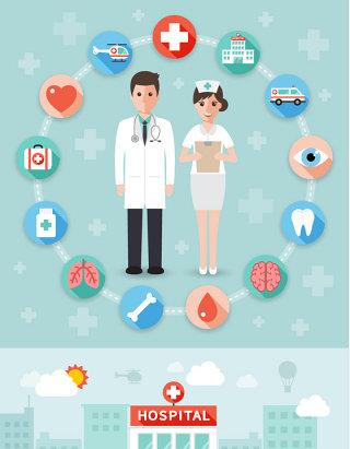 PPT素材商务背景医疗信息图标救护车