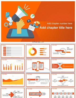 亮橙简约市场营销移动新媒体PPT模板