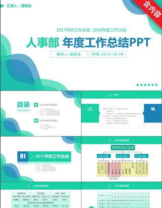 蓝色简约人事部年度工作总结PPT模板