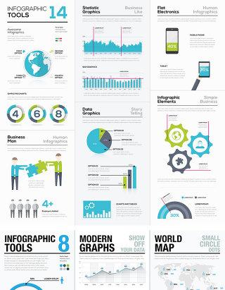 商务PPT图形图表矢量设计