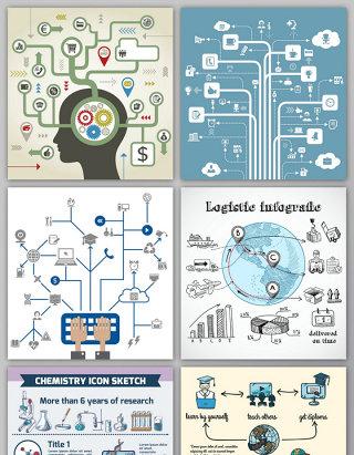 科技树形图信息图表矢量素材