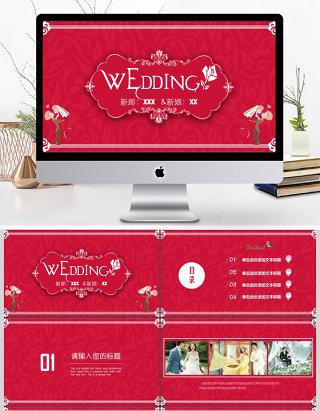 浪漫婚礼相册婚礼背景婚庆策划PPT模板