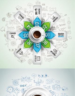 简约咖啡创意图表ppt素材eps矢量图