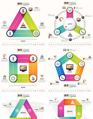 多彩时尚几何折纸信息图表矢量素材
