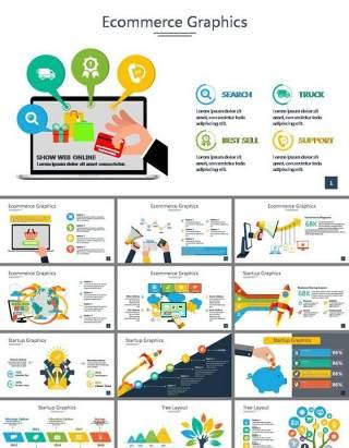 彩色扁平化商务情景图表PPT模板