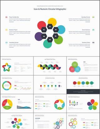 13套彩色并列图表PPT模板