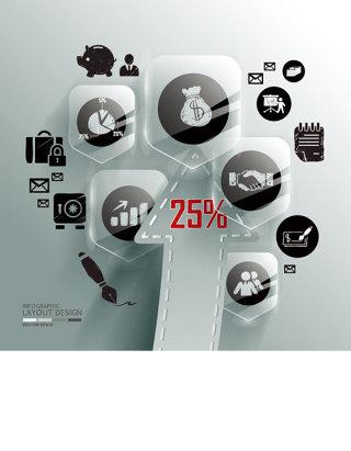 商务信息分析统计图表矢量素材